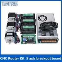 3 ejes CNC Router Kit 3 piezas TB6600 4A controlador de motor paso a paso + Nema23 motor57HS5630A4 + 5 eje placa de interfaz + fuente de alimentación