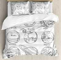Doodle conjunto funda nórdica planetas del Sistema Solar sol mercurio Tierra Luna Marte Neptuno Saturno Júpiter Ciencia, 4 unidades lecho