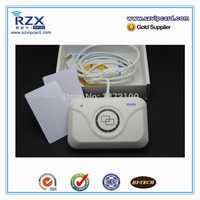 Envío gratuito promoción ISO14443A 13,56 MHz inteligente rfid tarjeta nfc lector y escritor de + 2 unids 13,56 MHz tarjeta tarjetas de prueba