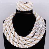 Conjuntos de joyería y bisutería Africana oro blanco 3 capas collar pulsera pendientes Nigeria conjunto de joyas para mujeres envío gratis indio novia