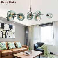 Lámpara colgante de pantalla de vidrio Multicolor Industrial E27 hanglamp lámpara Molecular moderna nórdica loft personalidad creativa