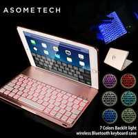 Funda de teclado Bluetooth inalámbrica con luz retroiluminada para 9,7 nuevo iPad 2017 funda protectora completa para iPad 2018 Pro 9,7