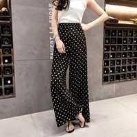 Pantalones de mujer pantalones de pierna ancha de onda de Mujer Pantalones de verano 2018 nuevo retro micro parlante suelto Delgado pantalones Casuales