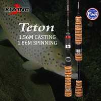 KUYING Teton SUL súper ultraligero 1,56 M 5'2'' fundición 1,86 M 6'2'' Spinning carbono suave señuelo pescado caña 0,8-3G señuelos