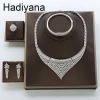 Hadiyana de lujo de la boda de novia compromiso joyería con incrustaciones brillante AAA Cubic Zirconia conjuntos de joyas para mujeres regalos de fiesta TZ8132