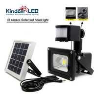10 W a prueba de agua Solar LED Luz de inundación IR Sensor de movimiento de sentido lámpara Solar IP65 COB jardín energía Solar LED reflector
