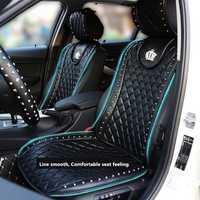 Cubierta de asiento de cuero de coche corona remaches Auto Interior cojín del asiento Accesorios negro tamaño Universal asientos cubre estilo de coche