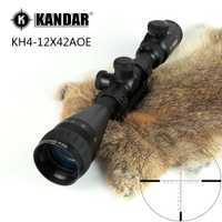 KANDAR KH 4-12x42 AOE caza Riflescope rojo iluminado vidrio grabado retícula francotirador óptico Rifle mira con anillo