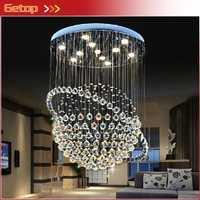 Meilleur prix moderne LED K9 cristal lustres Duplex Villa escalier lustre Tellurion suspendu fil Hall Llights projet lampe