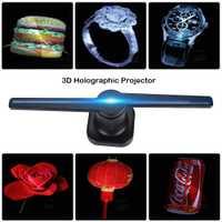 Hologramme 3D publicité ventilateur projecteur lumière affichage holographique LED holograma wifi personnalisé photos vidéos 224 perles de lampe