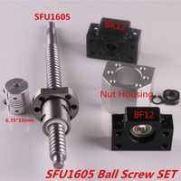 SFU1605 conjunto SFU1605 laminados tornillo C7 con mecanizado + 1605 Bola de tuerca y tuerca de vivienda BK/BF12 final soporte + acoplador RM1605
