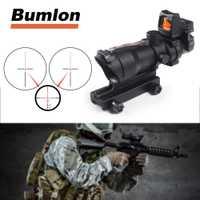 2019 táctico Rifle óptica vista verde rojo FIBRA DE ACOG 4X32 con RMR dot para Airsoft caza tiro óptica RL6-0058