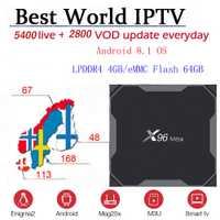 X96 MAX Android 8,1 TV BOX 5400 + Live y vod Nordic Scandinavia Europa Suecia Noruega Dinamarca IPTV M3u Mag TVIP Enigma2