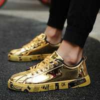 Zapatos para Hombre de talla grande, zapatos planos de verano de marca para Hombre, zapatos casuales con cordones para Hombre, Zapatillas Deportivas de moda doradas