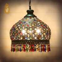 Bohemia Cristal colgante lámpara luz, lámparas de hierro forjado colgante para cocina isla comedor salón decoración mediterránea