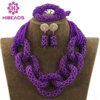Boda Africana púrpura cristal colgante collar nigeriano africano traje joyería conjunto para las mujeres libre ShippingABH130