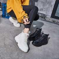 Casual zapatos de moda de las mujeres zapatillas de deporte de marca de la plataforma zapatos de mujer invierno dama chaussure mujer calzado alta con la piel