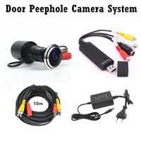 Kit de cámara de ojo de puerta gran angular 700TVL Bullet Mini cámara CCTV con tarjeta de captura de Audio USB sistema de cámara mirilla de puerta de Cable de 10 m