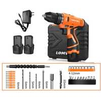 LOMVUM 12 V 12 V de doble velocidad taladro eléctrico luz LED recargable multifunción Mini inalámbrico de mano destornillador herramientas