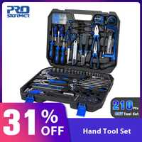 Prostormer 210 piezas mano herramientas profesional Kit de combinación con almacenamiento de caja de herramientas General de hogares de reparación de automóviles mixto herramienta