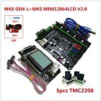 MKS GEN-L placa de circuito + MKS MINI12864LCD mini lcd12864 panel + 5 unids tmc2208 paso a paso conductor barato 3D kit de impresora de la Asamblea