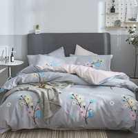 Juego de cama de 3/4 piezas de alta calidad 100% juegos de cama de algodón cómoda cama de lino sábana edredón funda de almohada envío gratis