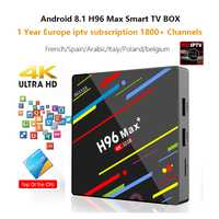 Android 8,1 4 GB + 32 GB H96 Max plus caja de IPTV 1800 canales IPTV francés Polonia Alemania árabe Portugal 4 K media player Smart tv box