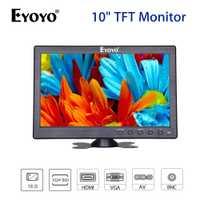 EYOYO pantalla LCD TFT de 10,1 pulgadas 1024*600 Monitor de CCTV BNC VGA AV HDMI Video Audio de DVD altavoces integrados de cámara de seguridad