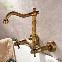 Pared del baño de cobre antiguo colgante tipo lavabo de agua fría y caliente doble estilo grifo ronda Bases