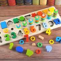 Niños de los niños de Montessori rompecabezas forma número Digital logaritmo juegos enseñanza SIDA principios educativos juguete para los niños