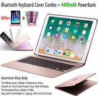 Slim retroiluminada de aleación de aluminio de teclado Bluetooth inalámbrico de la cubierta del caso para Apple iPad Pro 12,9 pulgadas 2017 de 2015 con Powerbank 4400 mAh