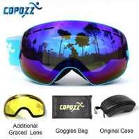 Gafas de esquí COPOZZ con funda y lente amarilla UV400 gafas esféricas de esquí esféricas para esquí para hombre gafas de nieve para mujer + conjunto de lentes + caja