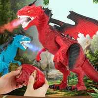 RC dinosaurio juguetes de Control remoto dragón sacudiendo la cabeza luz ojos caminando de Dino Juguetes Para Chi