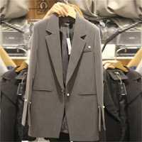 ¡Oferta! chaquetas y Blazers para mujer, primavera Otoño, Casual, trajes largos para mujer, chaqueta femenina sólida de talle ancho, talla grande XL-5XL