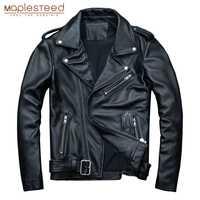 MAPLESTEED classique Moto vestes hommes veste en cuir 100% peau de veau naturel épais Moto veste homme Biker manteau hiver M192