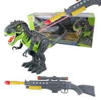 [Arriba] Mundo Jurásico rifle de francotirador de control remoto por infrarrojos RC flash y sonido T-Rex juguete figura de uso RC pistola el dinosaurio de juguete