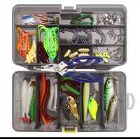 Fishing Lure Kit 101 unidades conjunto gancho gusano suave cebo Popper lápiz Crank Wobbler VIB Minnow Rana Spinner conector Jig alicates