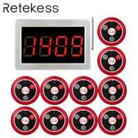 Système d'appel de serveur sans fil RETEKESS 999 canaux RF pour système de téléavertisseur de Service de Restaurant 1 hôte récepteur + 10 bouton d'appel