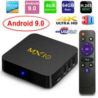 MX10 caja de TV inteligente Android 9,0 Rockchip RK3328 DDR4 4 GB Ram 64 GB Rom IPTV Smart Set-top box 4 K USB 3,0 HDR H.265 Media Player Box