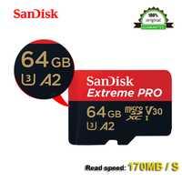 SanDisk Extreme PRo microSDXC UHS-I 64 GB tarjeta de memoria micro SD tarjeta TF tarjeta 170 MB/S A2 64 gb Class10 U3 con adaptador SD de 100% original