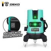 DEKO LL520GJD láser verde nivel 360 de nivelación de la línea láser nivelación inclinación puede usar Detector batería Digital pantalla