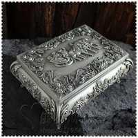 Caja de joyería de color antiguo retro europeo con caja de joyería organizador de anillo caja de almacenamiento organizador de escritorio para decoración del hogar Z060