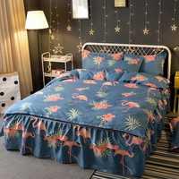 Juegos de cama de patrón de lijado de flamencos de estilo de corte BS70 fundas de almohada funda de edredón casa Cama falda cómoda ropa de cama colcha