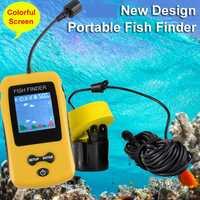 Buscador de peces de la suerte, Sonar para la pesca, Sensor de eco-sirena LCD de 100 M de profundidad, detector de pesca, menú ruso c5