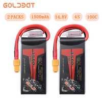 2 unités GOLDBAT 14.8 V Lipo batterie 1500 mAh 4 S Lipo batterie 14.8 V lipo 4 s 100C avec prise XT60 pour FPV RC voiture camion avion
