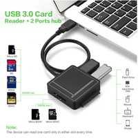 Todo en uno USB 3,0 a SATA adaptador TF lector de tarjetas SD USB 3,0 Hub 2 puertos convertidor 3