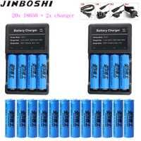 20 piezas 18650 de la batería de 3,7 V 1600 mAh batería recargable de iones de litio cargador de batería de litio linterna LED + cargador de 2 piezas