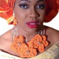 Dudo de naranja y oro indio conjunto de joyas para mujeres, incluyendo pulsera + pendientes + collar hecho a mano de cristal conjunto de joyas