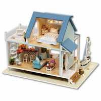 Muñecas hechas a mano muebles de Casa Miniatura juguetes de madera para niños regalos de cumpleaños, cabina de Mar del Caribe Diy casa de muñecas Miniatura