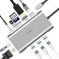 WIWU 10 en 1 USB Hub para MacBook USB C a HDMI/VGA/RJ45 Thunderbolt 3 adaptador para dell/Samsung/Huawei P20 Pro tipo-c USB 3,0 Hub